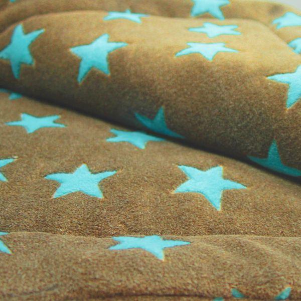 Matdox MONTANA Fleece Decke STARS karamell/türkis