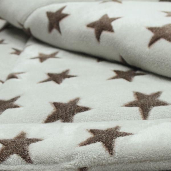 Matdox MONTANA Fleece Decke STARS beige/braun
