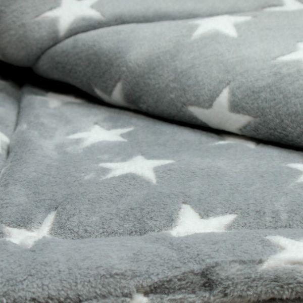 Matdox Fleece Decke STARS hellgrau/weiß